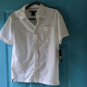 White pinstripe button-up boys shirt
